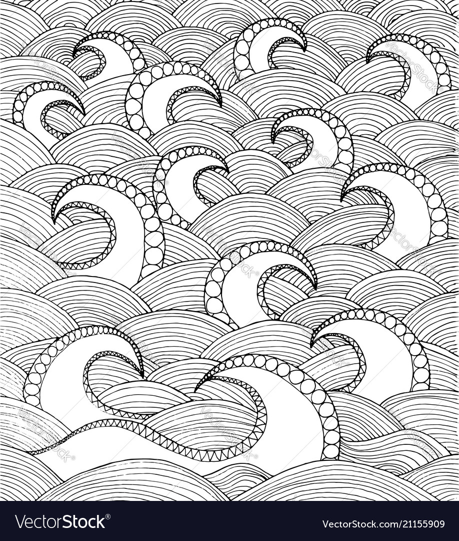 Doodle sea waves hand drawing coloirng page book