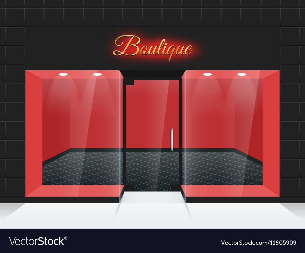Empty shop front or boutique windows and door vector image