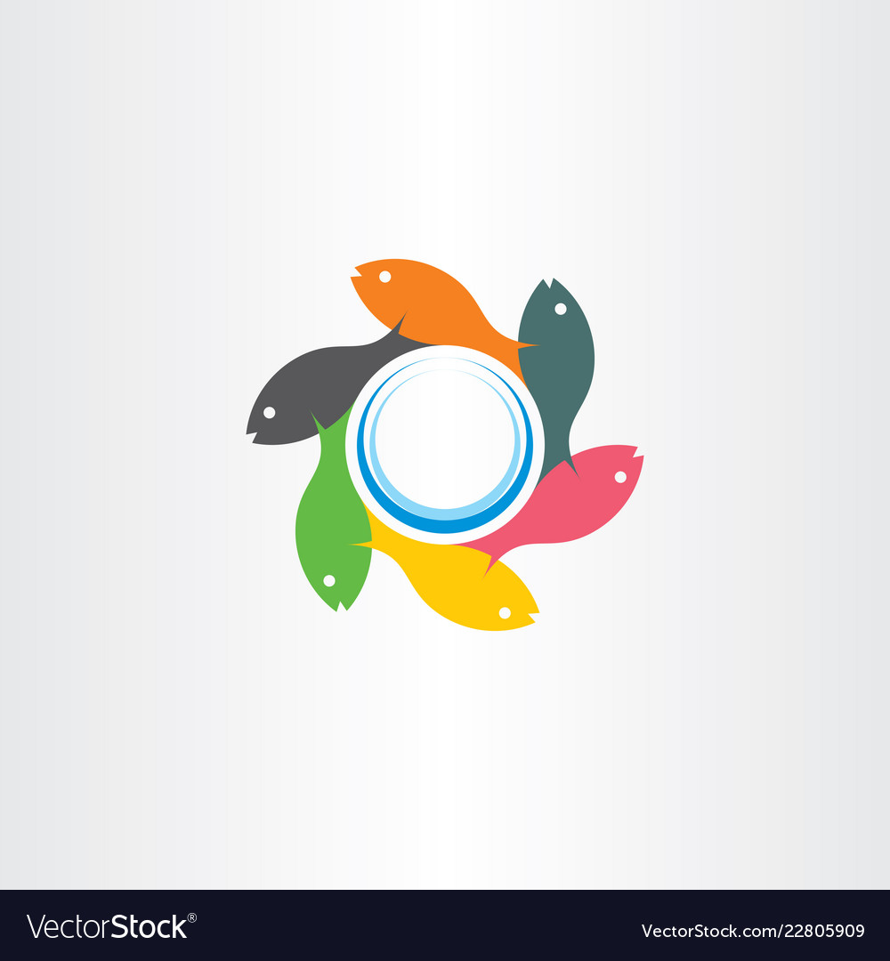 Fish swimming in circle logo sign element