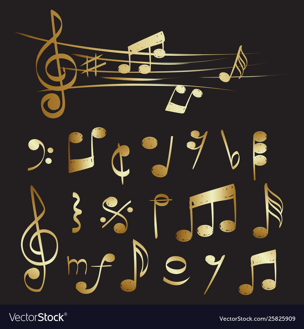 Gold musical note set collection