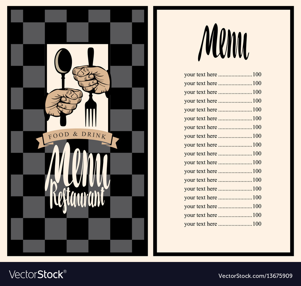 Menu with hands and utensils