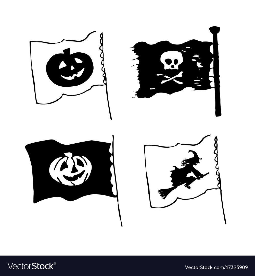 Set of halloween flags in sketch style with