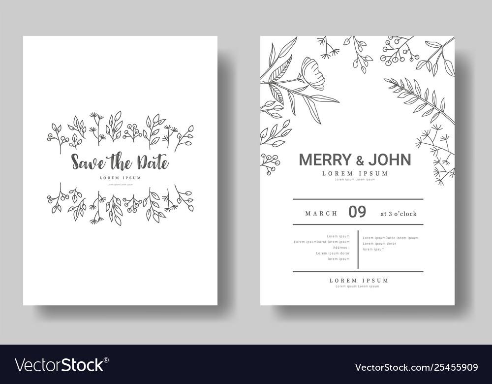 Set wedding invitation cardsave date