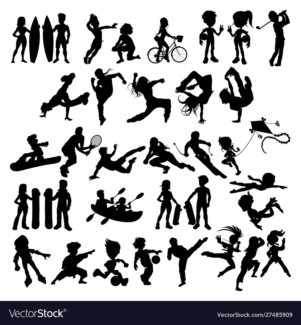 Silhouettes athletes and sportspeople