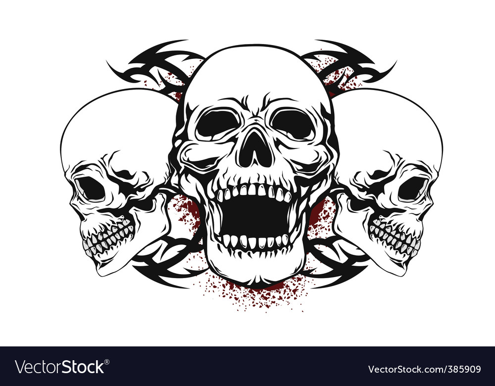 three skulls royalty free vector image vectorstock rh vectorstock com vector skulls pack vector skulls t shirt
