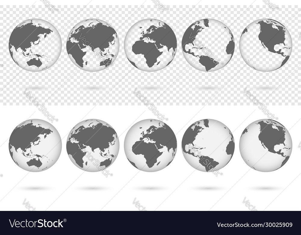 Transparent earth globes from different sides