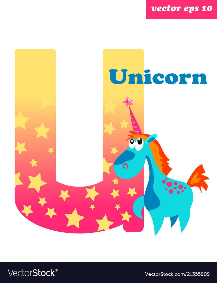 U letter with unicorn