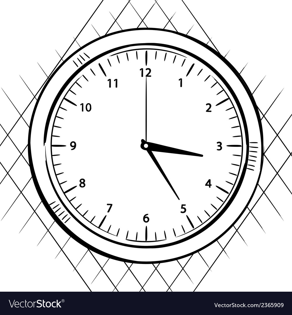 Wall clock sketch vector image