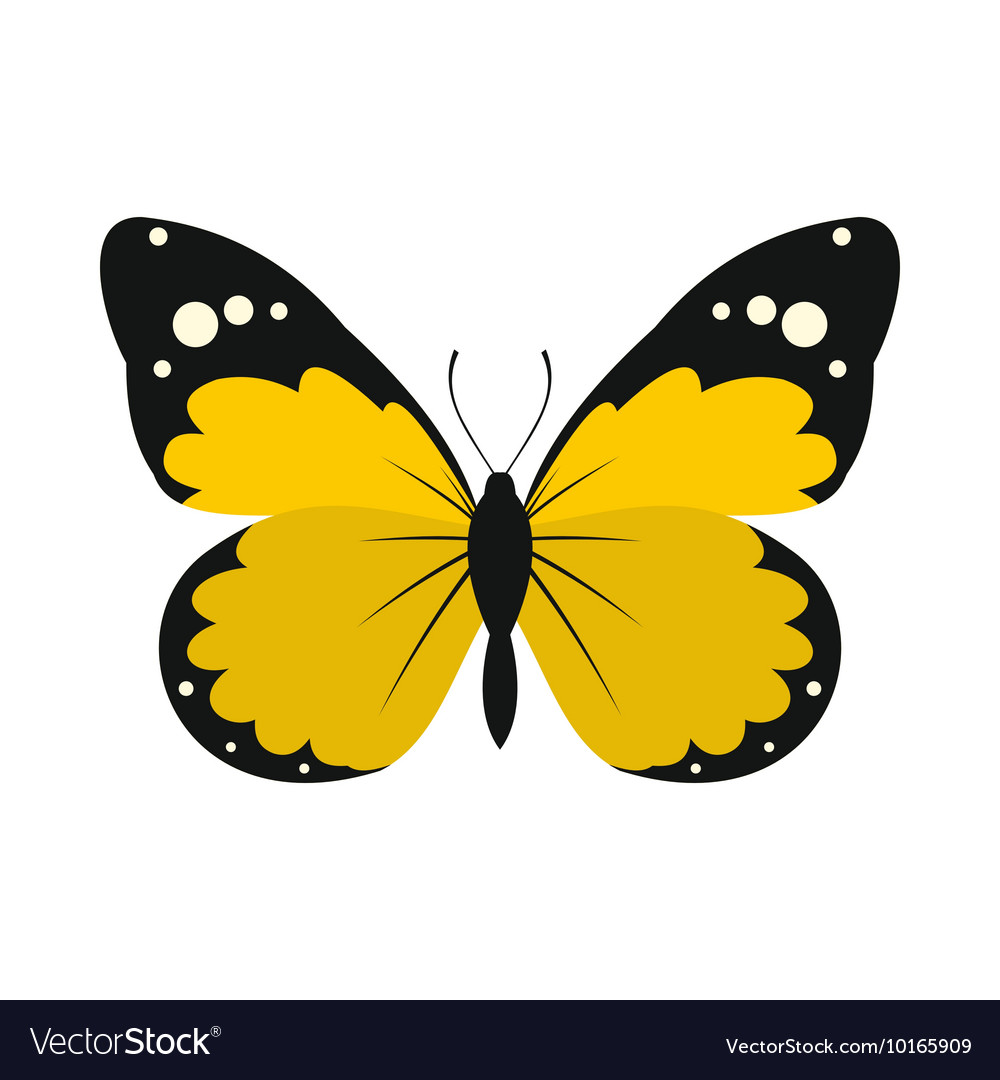 yellow butterfly icon flat style royalty free vector image vectorstock