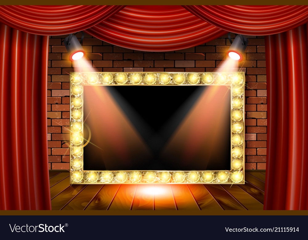 3d render marquee light rectangle board sign Vector Image
