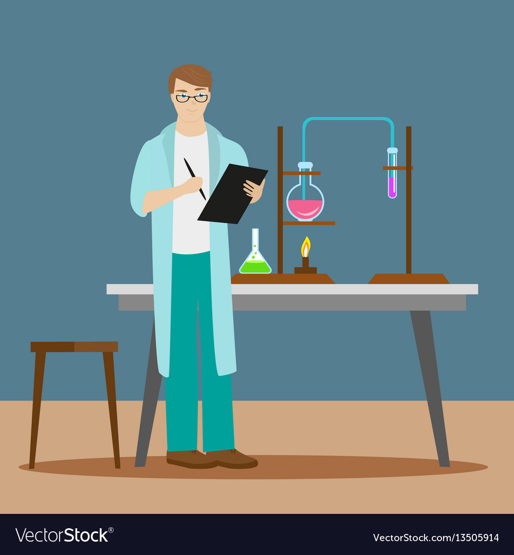 A chemist or an assistant writes down the results