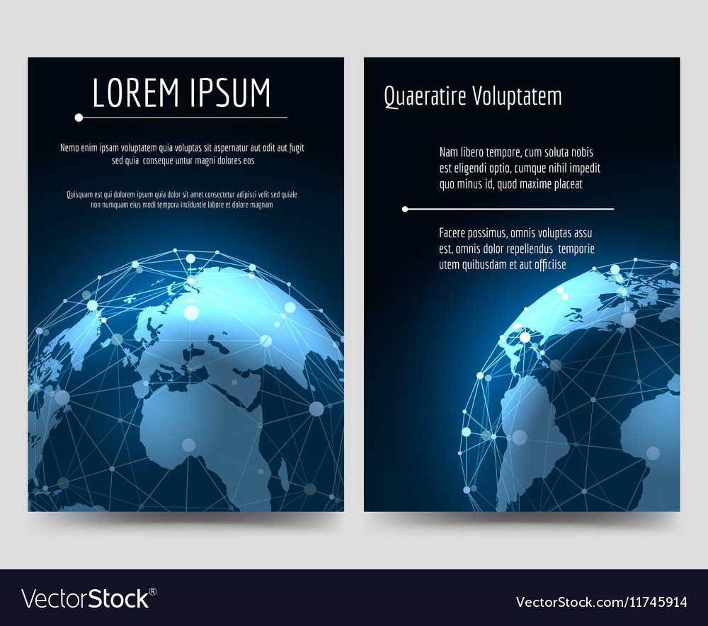 brochure flyers template with earth sphere vector image