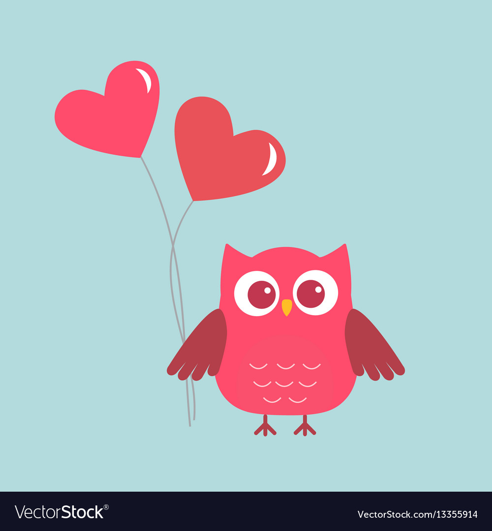 Cute owl with pink hearts-ballons