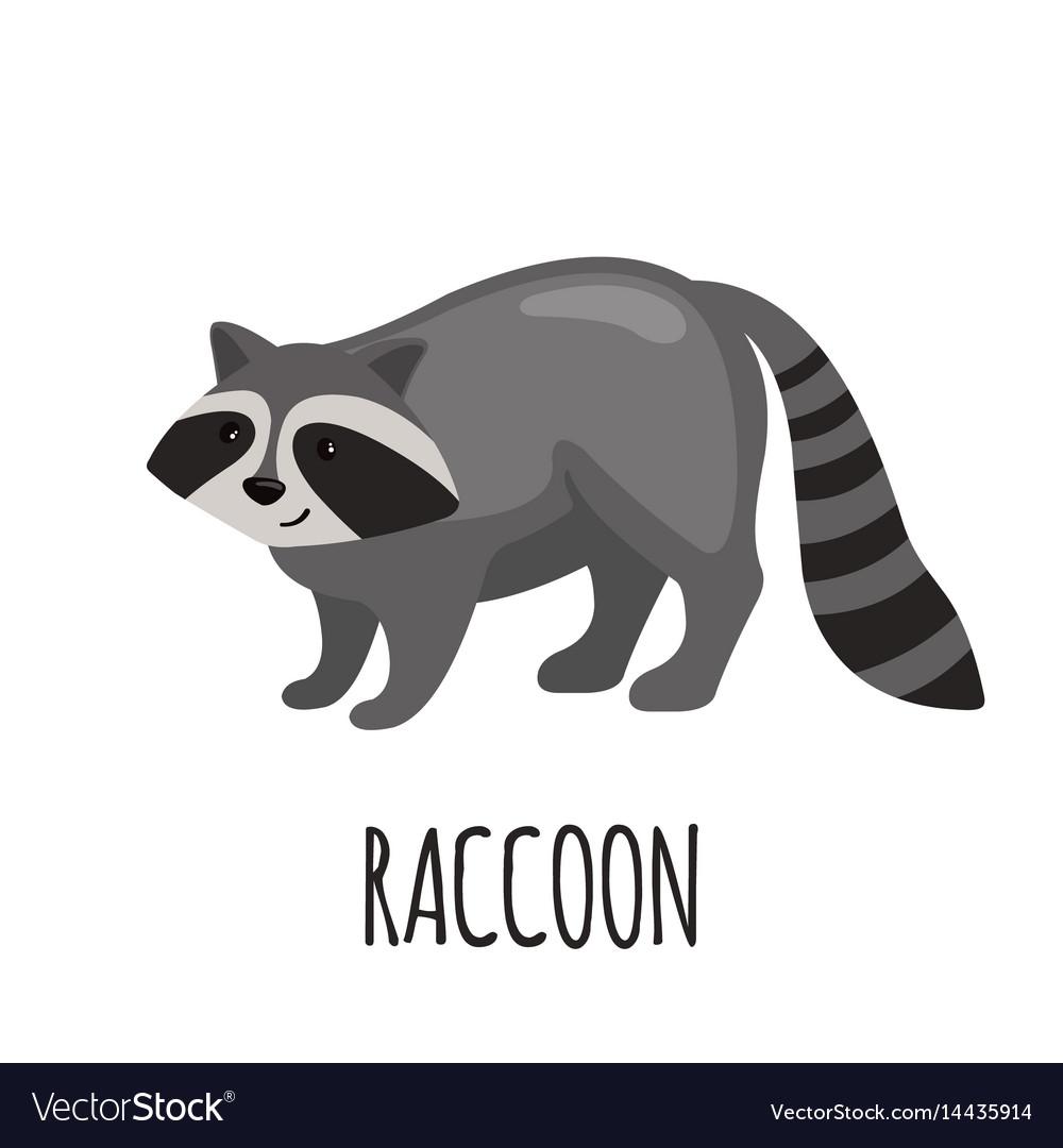 Cute raccoon in flat style