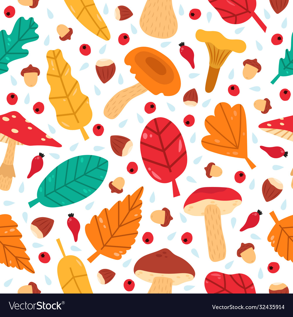 Fall leaves seamless pattern hand drawn forest