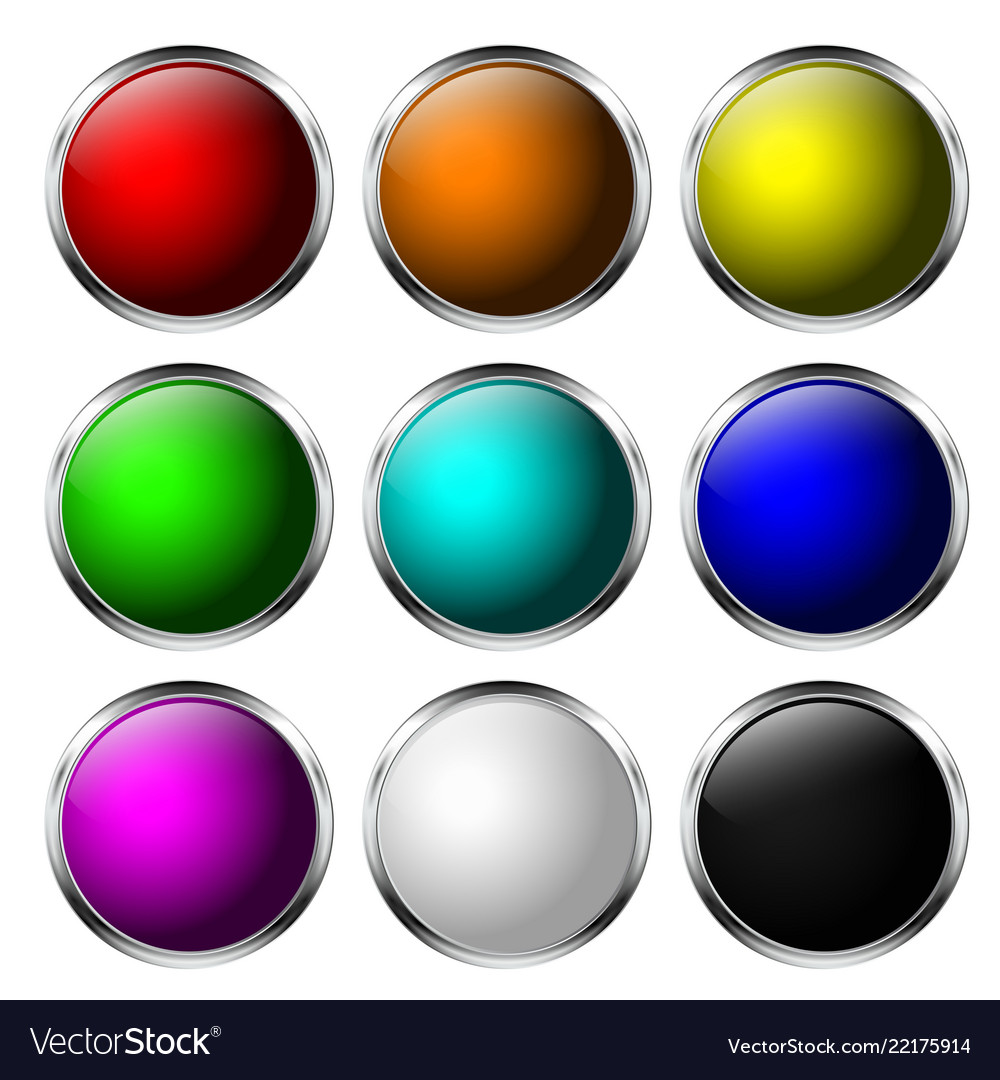 3905eddacb8 Glass buttons round 3d icons with chrome frame Vector Image