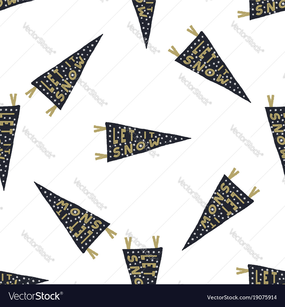 Hand drawn pennants seamless pattern with