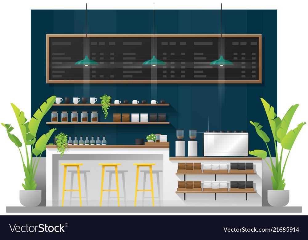 Interior Scene Of Modern Coffee Shop Counter Bar Vector Image