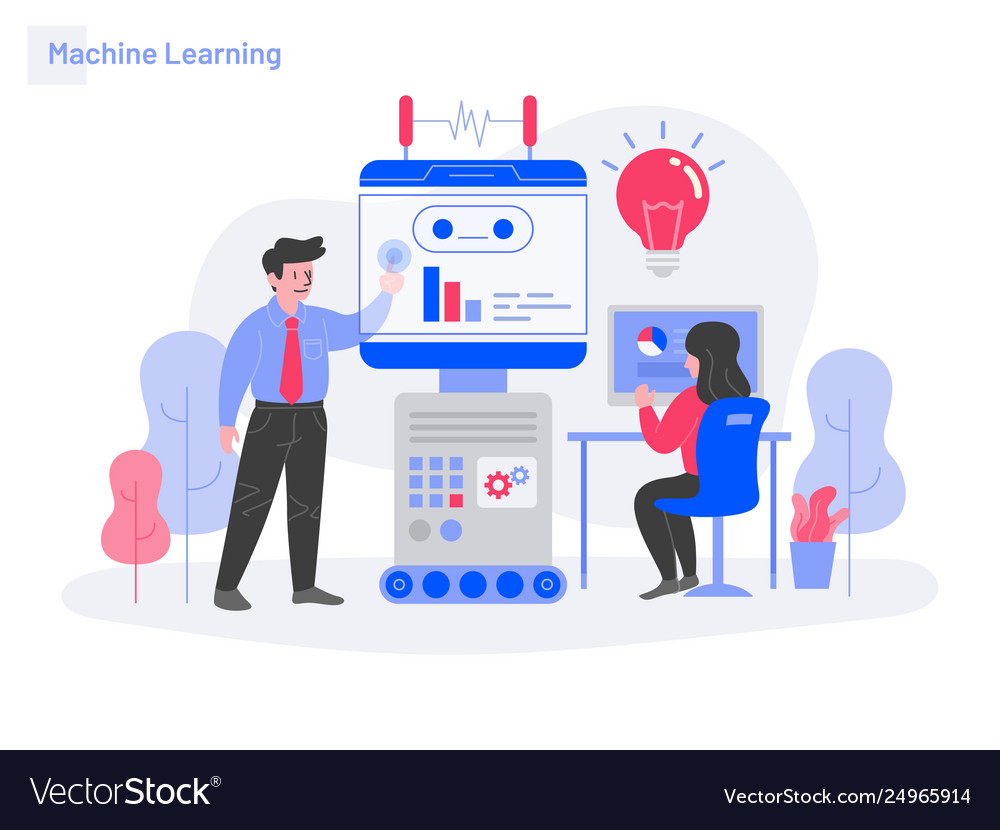 Machine learning concept modern flat design