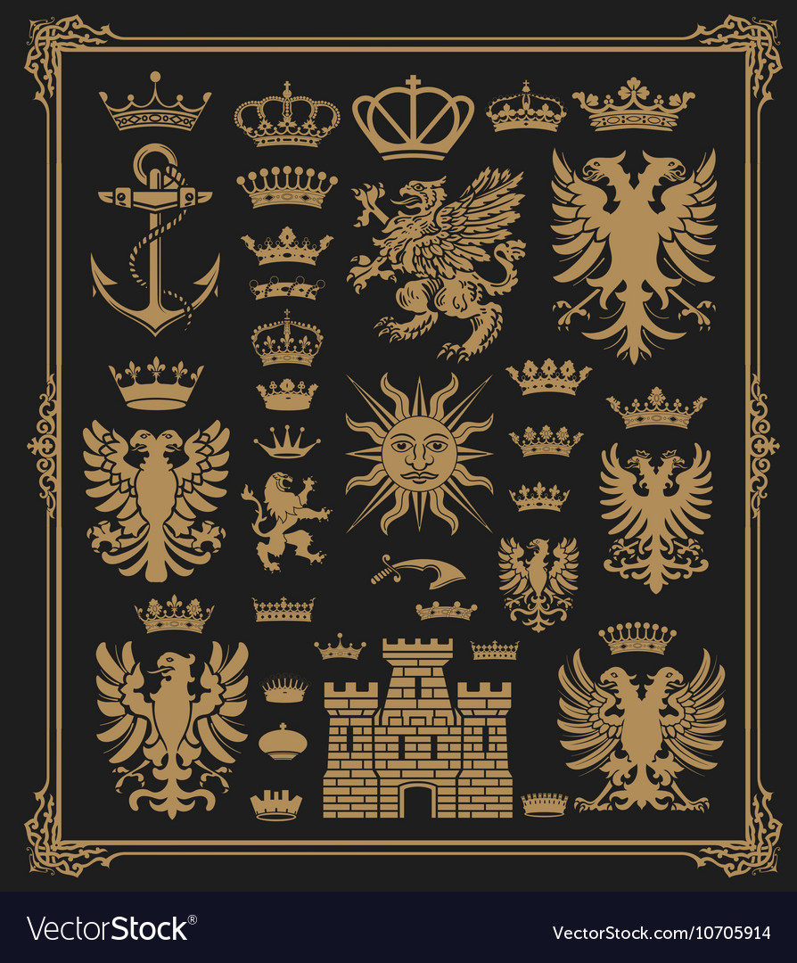 Mega pack of Heraldic Elements with baroque frame