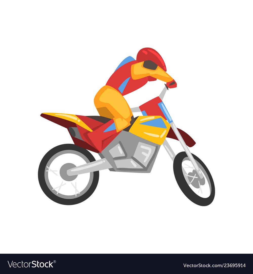 Motorcyclist in helmet riding motorcycle