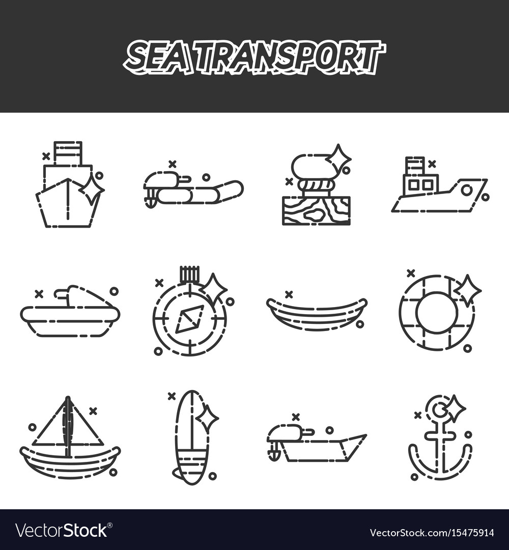 Sea transport cartoon concept icons