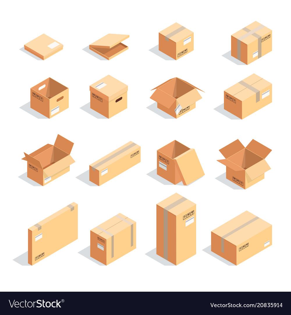 Set isometric boxes isolated