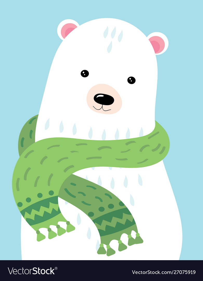 A cartoon portrait a bear stylized polar bear