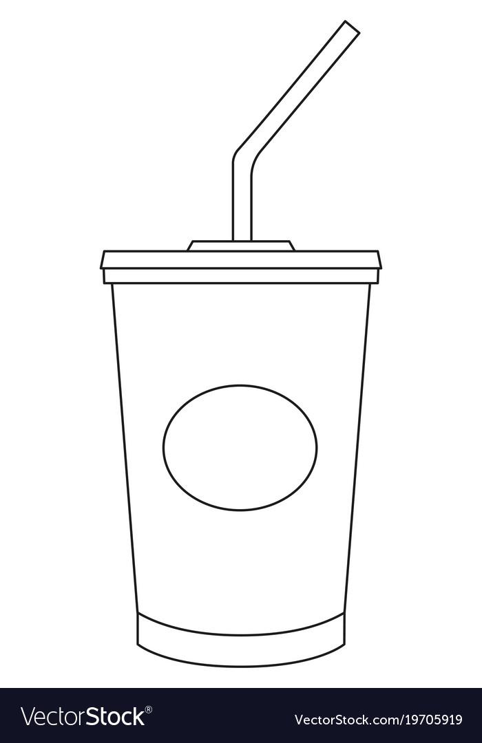 Black and white soda cola milkshake fast food icon