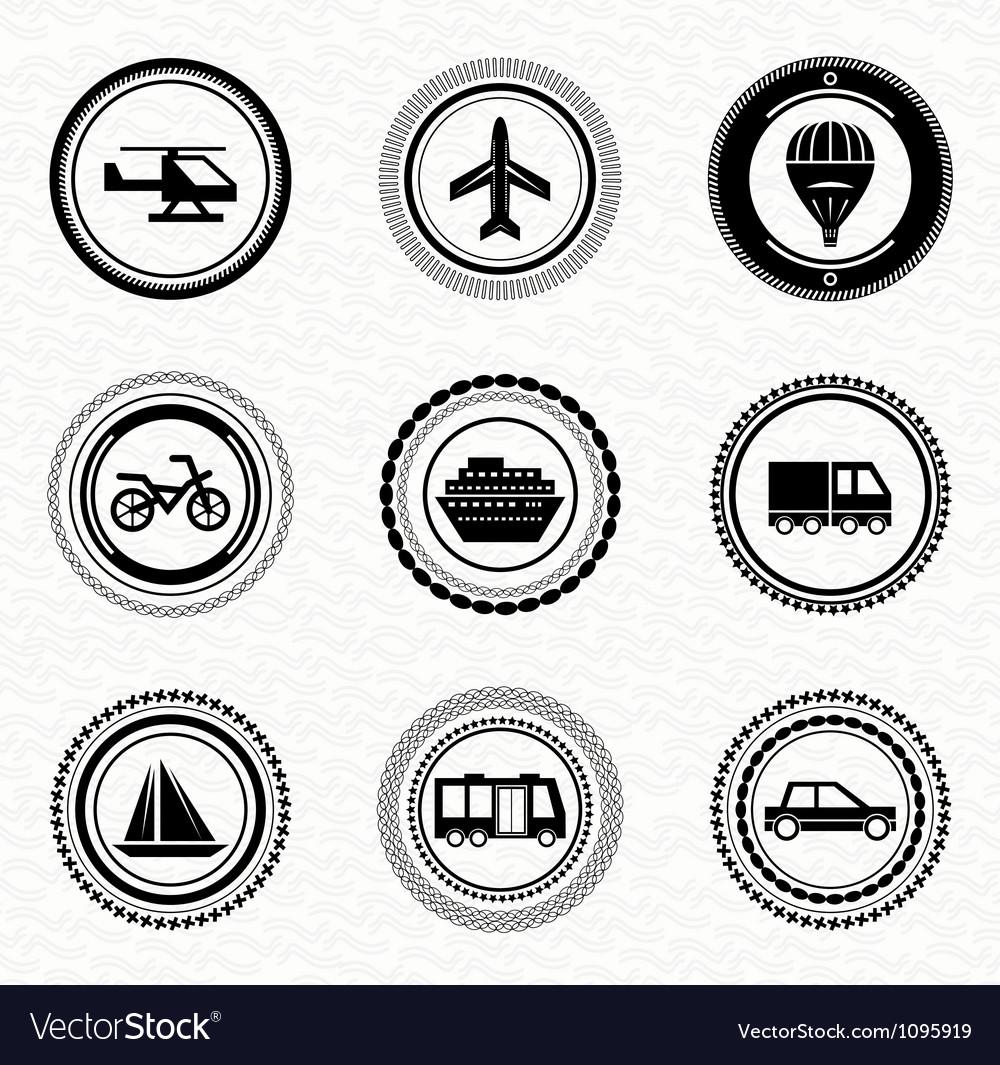 Black retro labels and badges transportation vector image