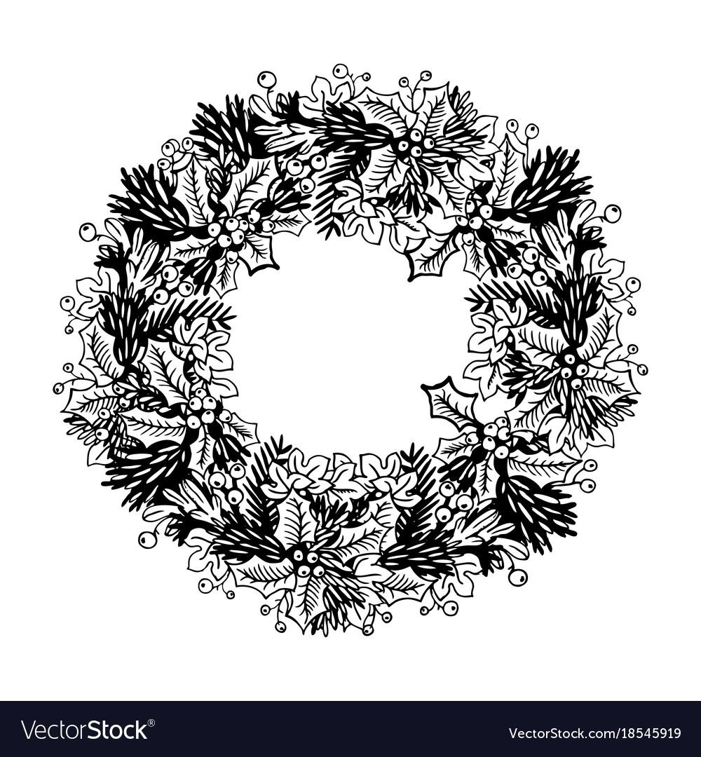 Christmas wreath engraving