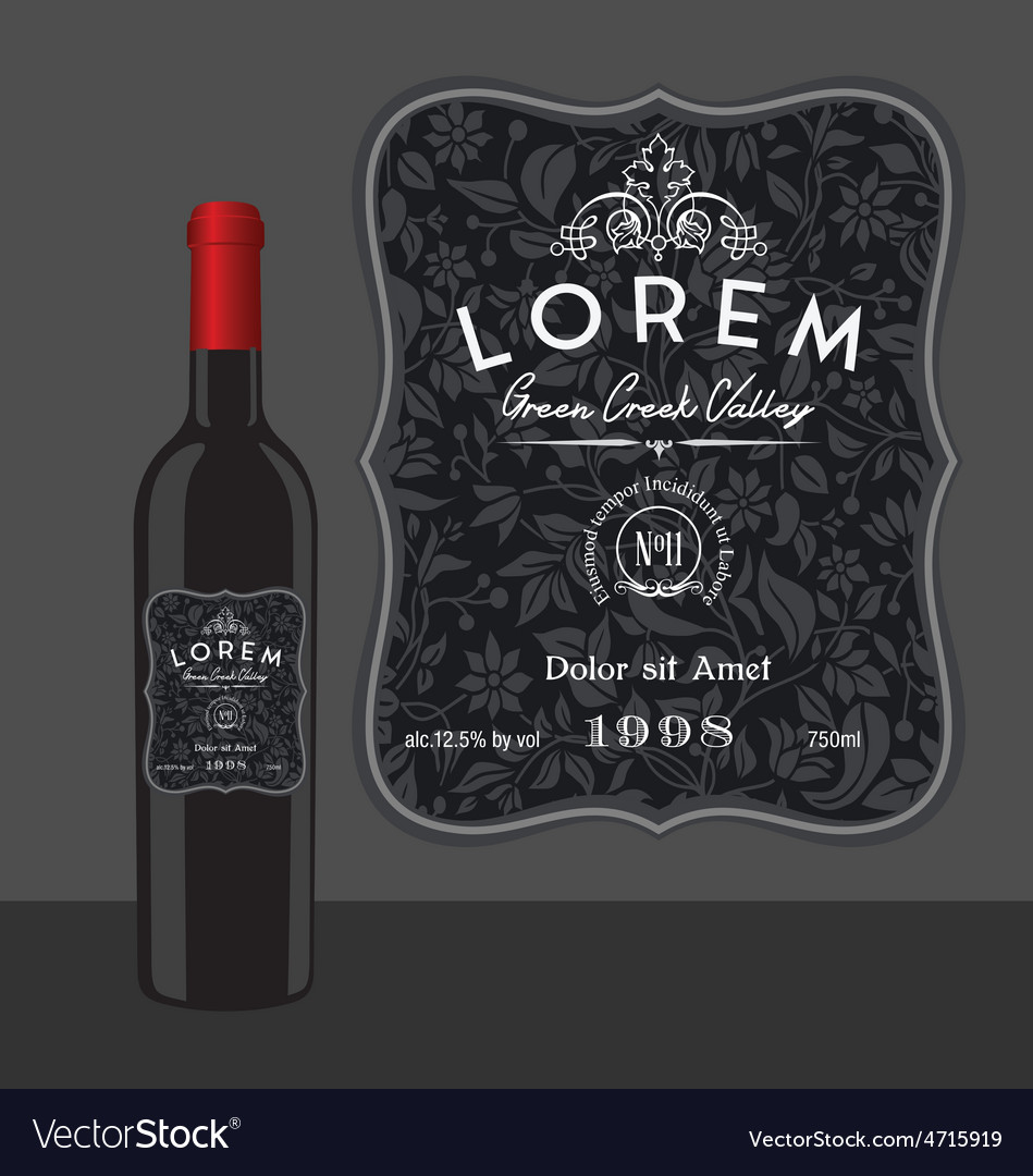 Decorative wine bottle label template vector image