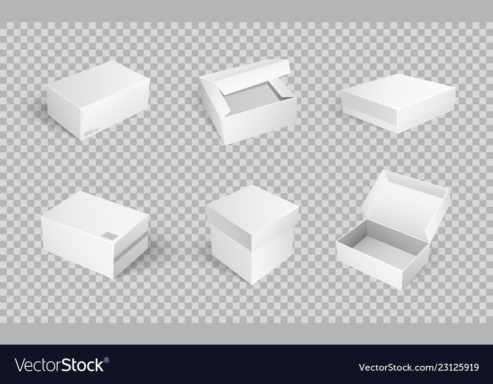 Empty cardboard cartoon containers isolated icons