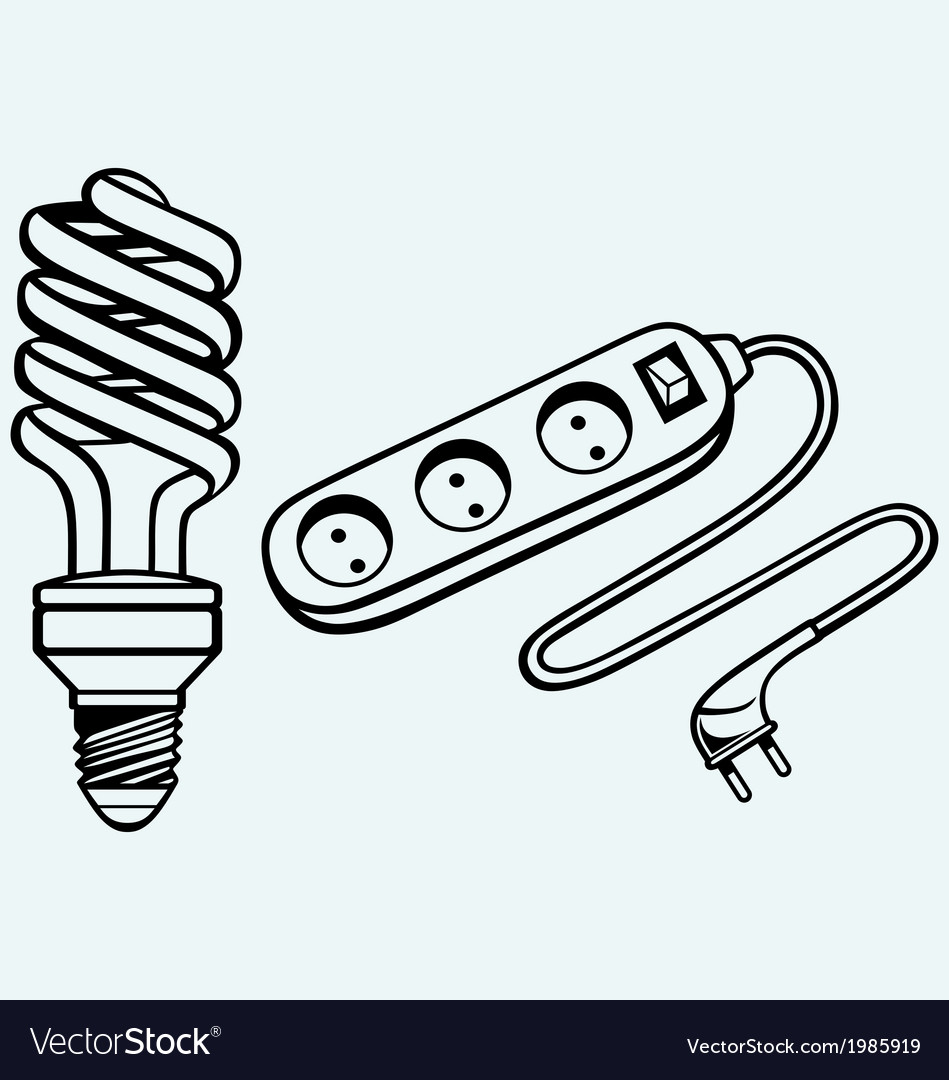 Energy Saving Light Bulb And Power Surge Vector Image All Electrical Appliances Including Bulbs Stereos