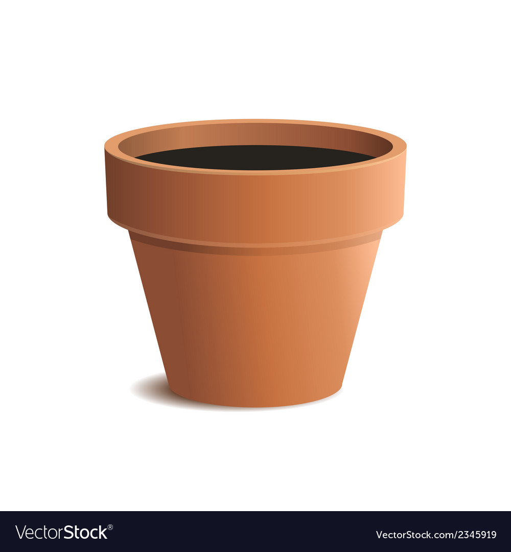 Flower Pot Isolated On White Background Royalty Free Vector