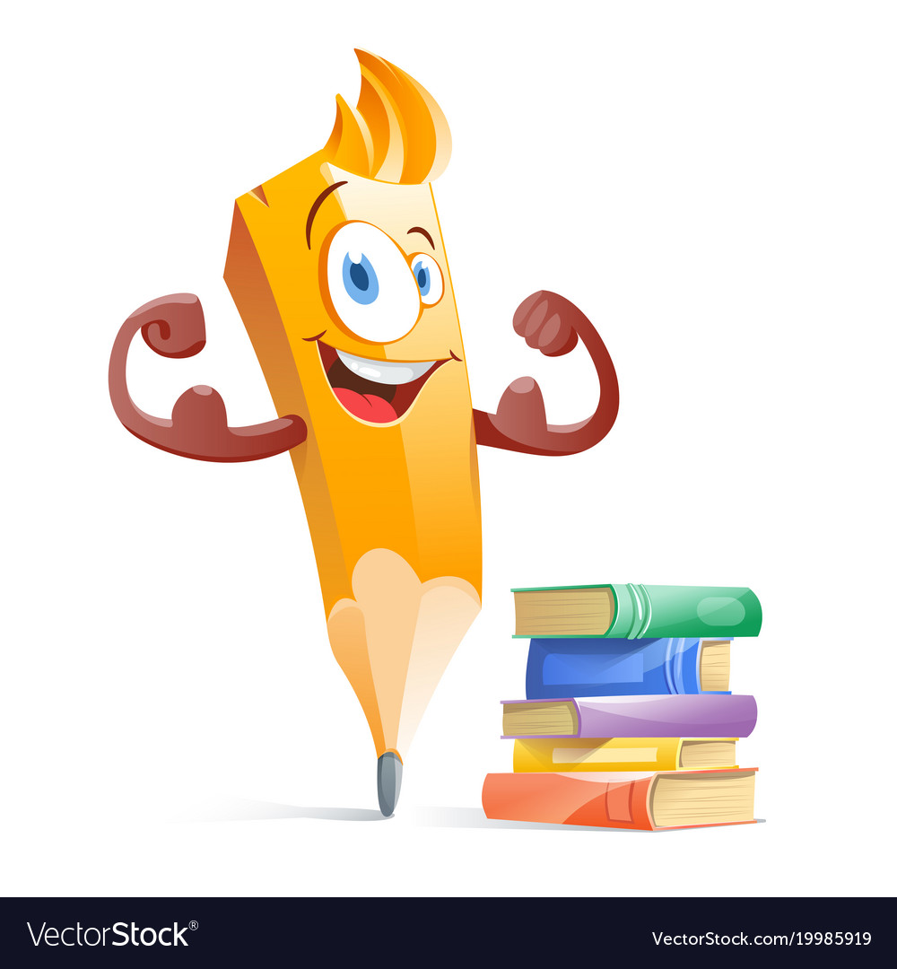 Funny Cartoon Pensil With Books Education Vector Image