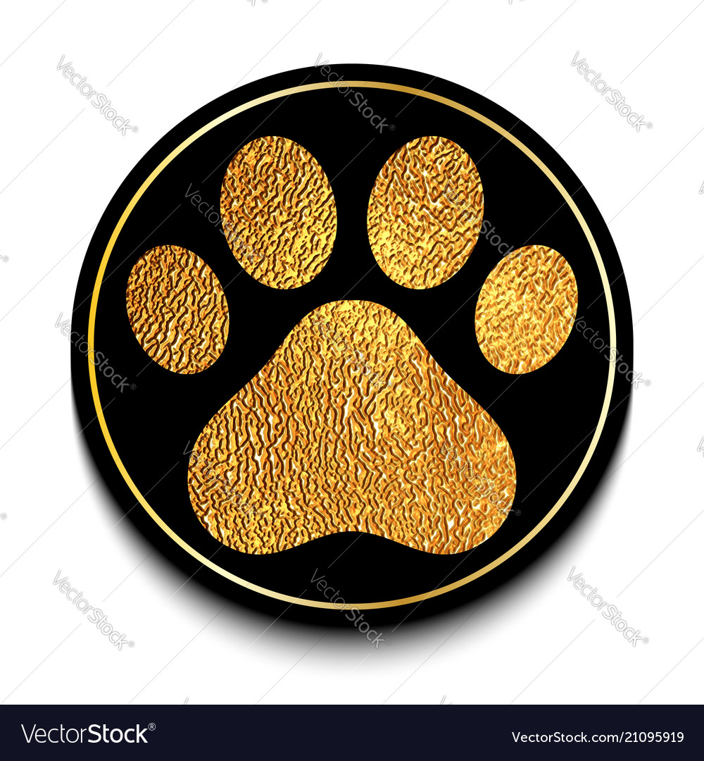 Golden animal paw print