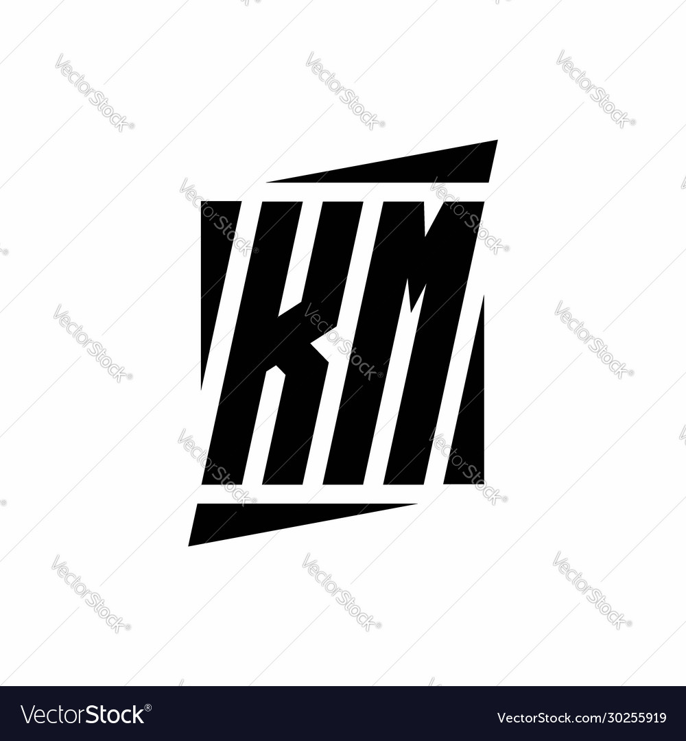 Km Logo Monogram With Modern Style Concept Design Vector Image