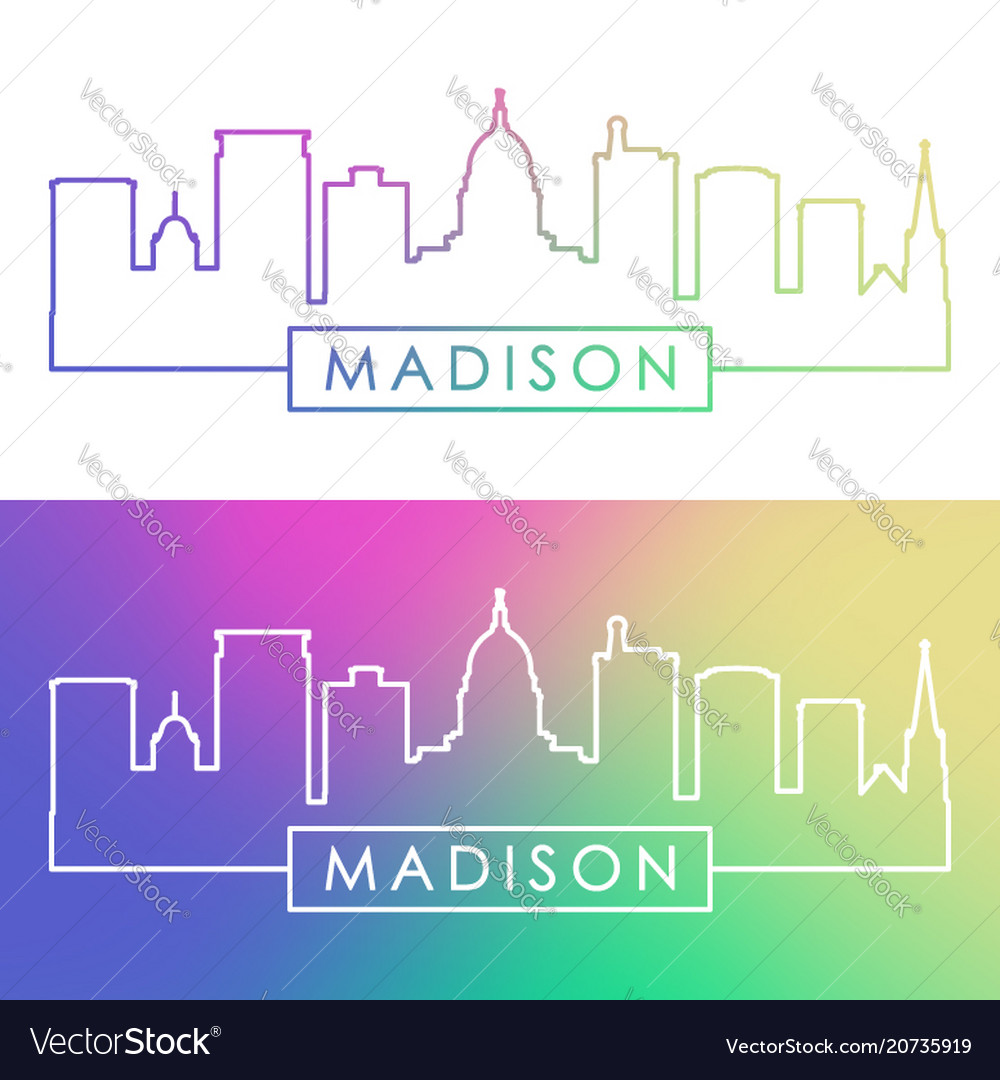 Madison skyline colorful linear style editable
