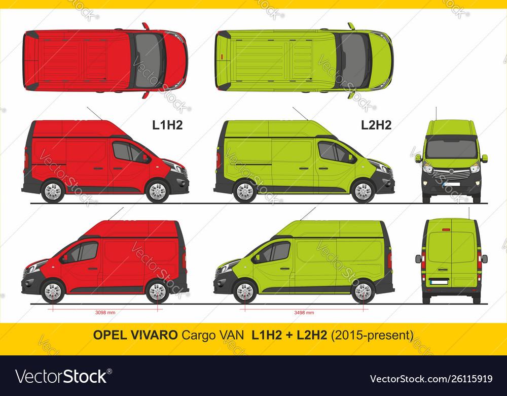 Opel Vivaro Cargo Van L1h2 And L2h2 2015 Present Vector Image