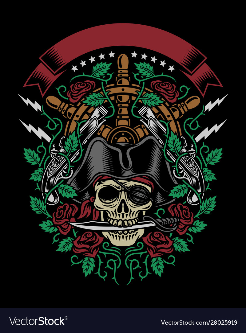 Pirate skull bite a dagger with roses and guns