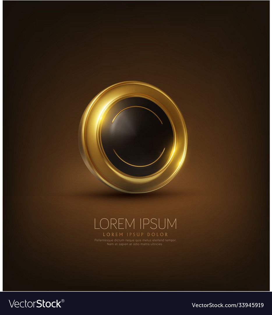 Shiny black and gold button abstract 3d element vector