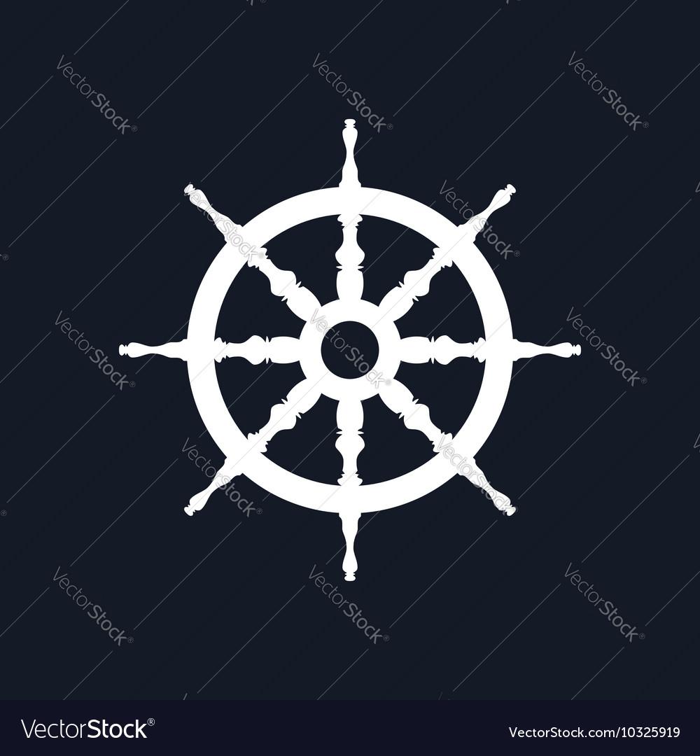Ship Wheel Isolated on Black Background