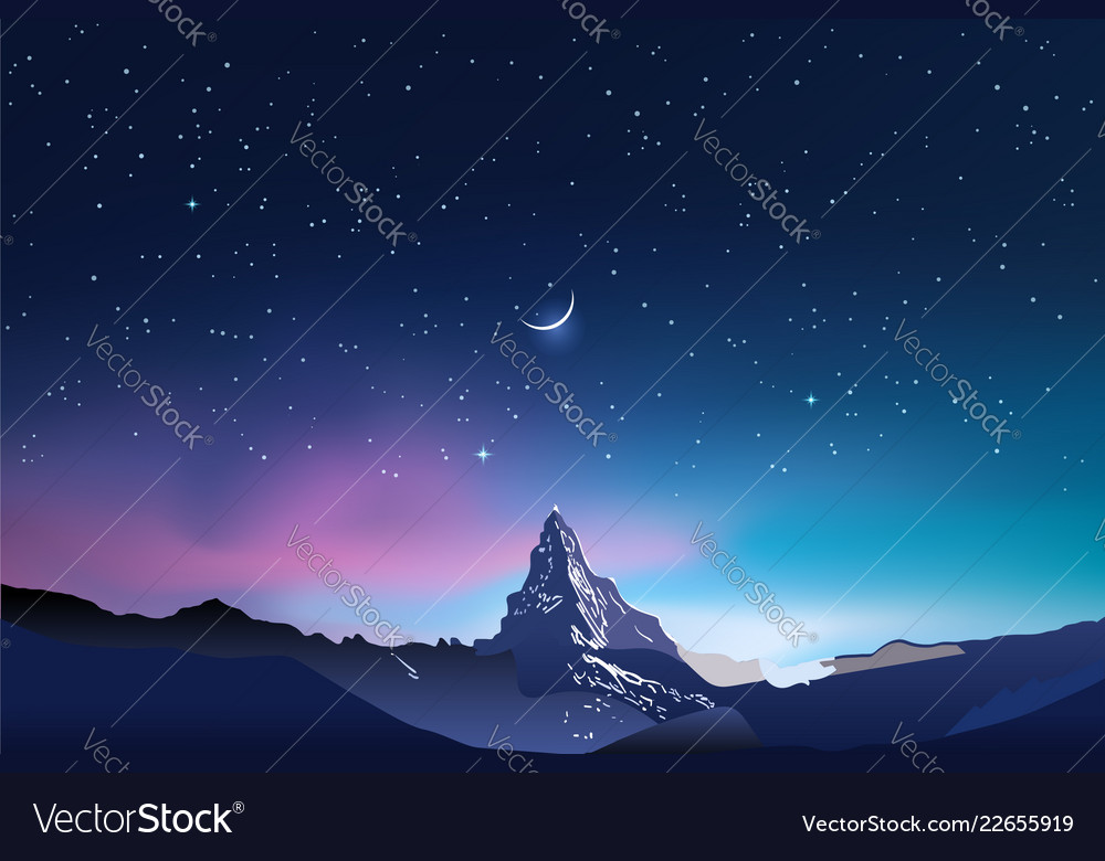 Snowy mountains pink and blue night sky landscape