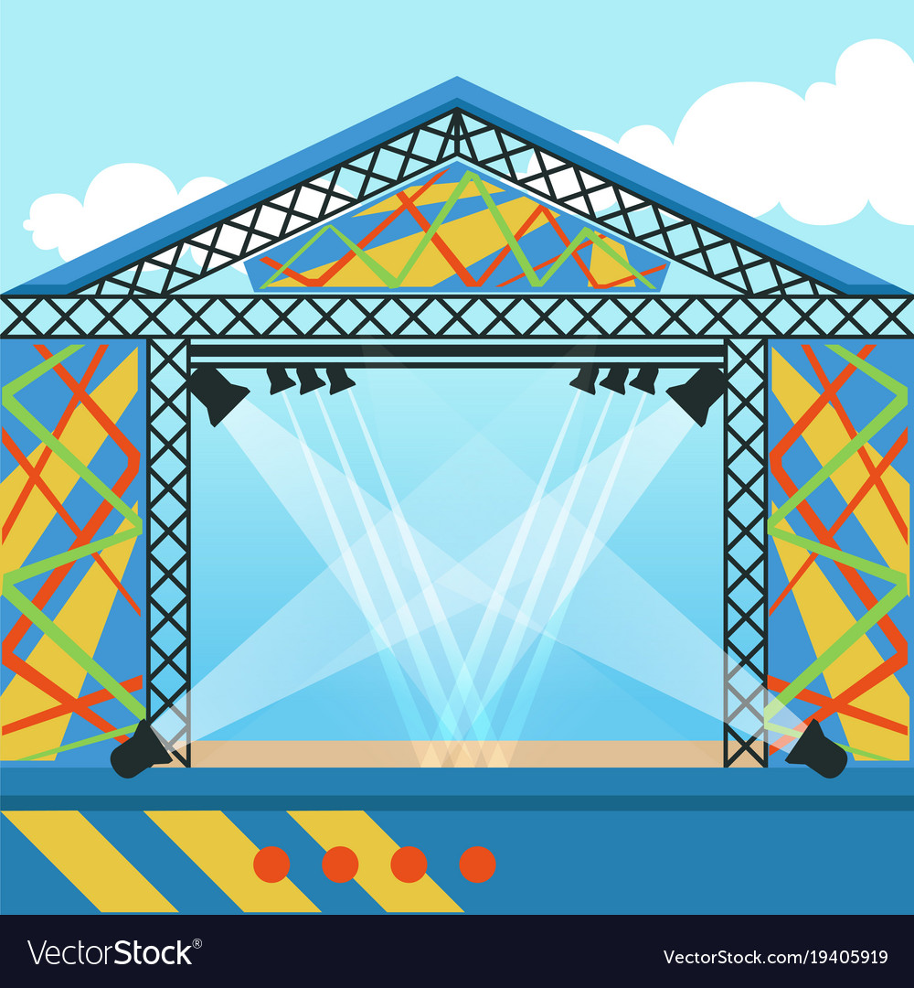 Stage for open air festival music event or rock vector image