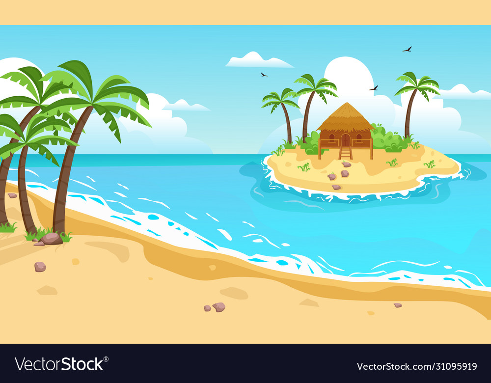 Tropical island with cottage yellow sandy beach