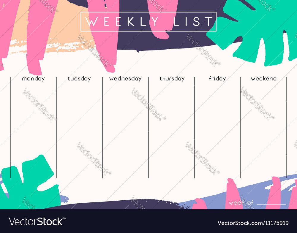 weekly planner template royalty free vector image