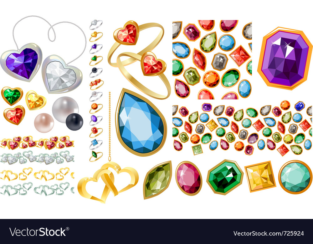 Big jewellery set with gems and rings vector image