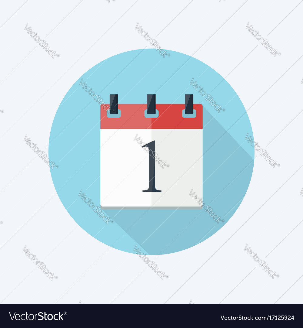 Calendar icon in flat style with shadow