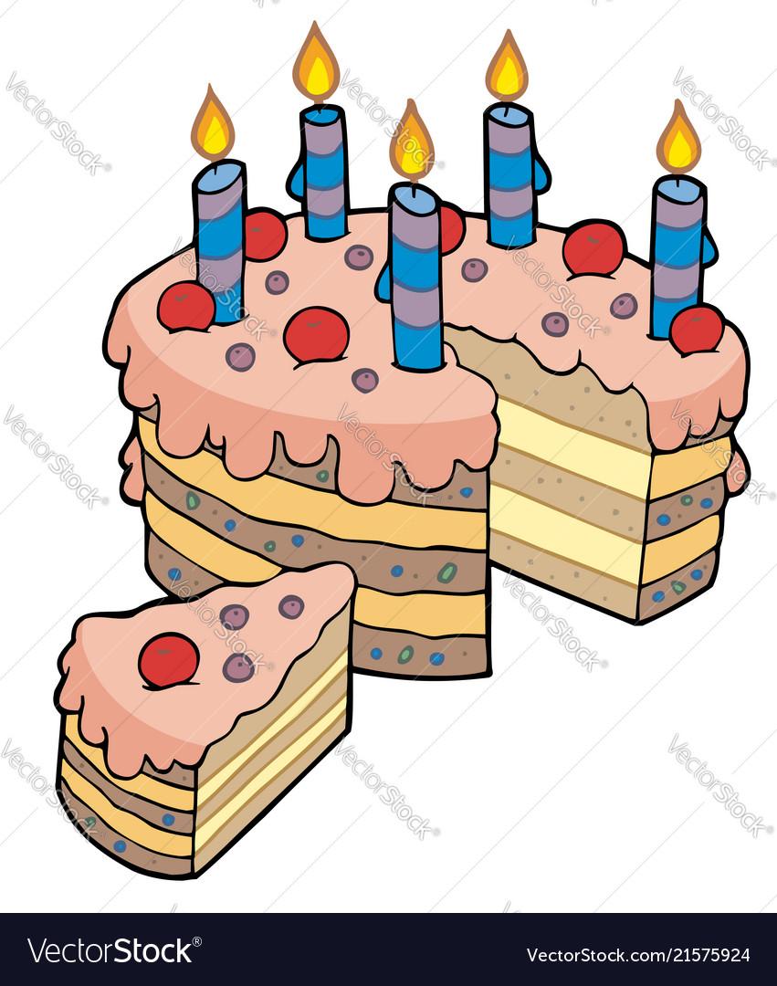 Cartoon Sliced Birthday Cake Vector Image